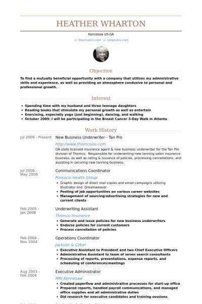 Underwriter Resume samples - VisualCV resume samples database
