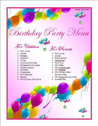 Birthday Menu Template | Microsoft Word Templates