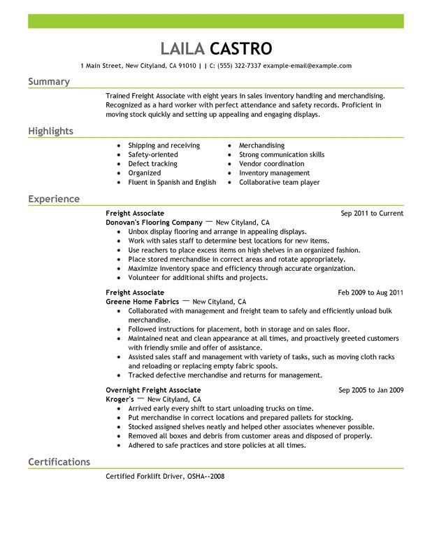 Unforgettable Freight Associate Resume Examples to Stand Out ...