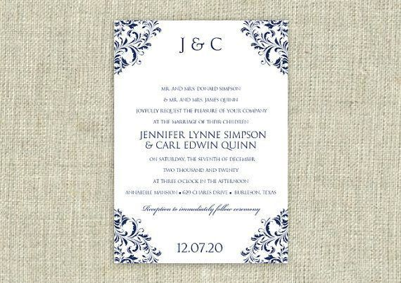 Wedding Invitation Template - DOWNLOAD Instantly - EDITABLE TEXT ...