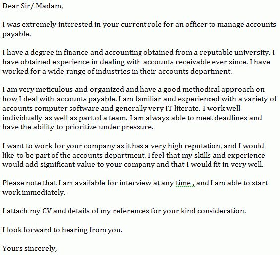 Accounts Payable Cover Letter Example - Learnist.org