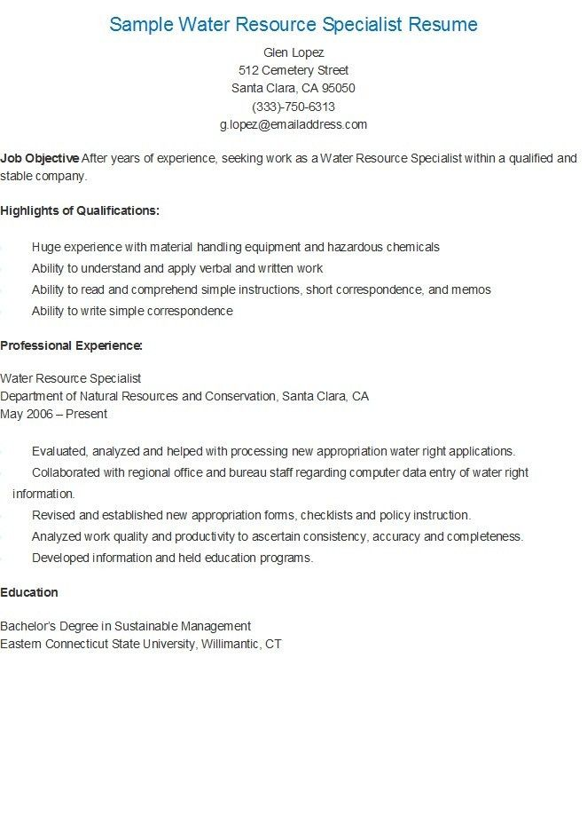 Sample Water Resource Specialist Resume | resame | Pinterest ...