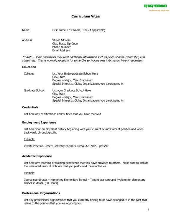 cv resume template cv format resume example of cv resume cv resume ...