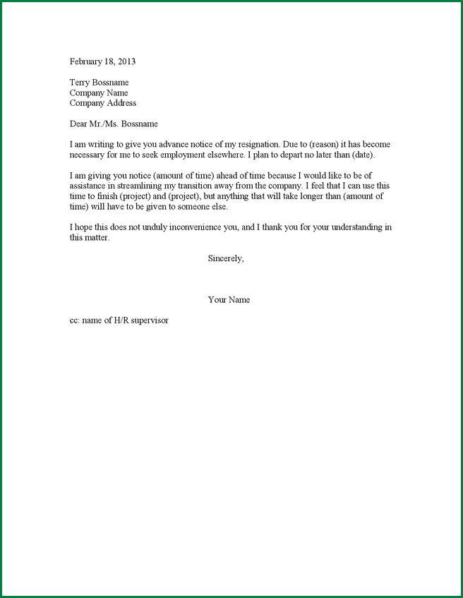 7 One Week Notice Resignation | applicationsformat.info