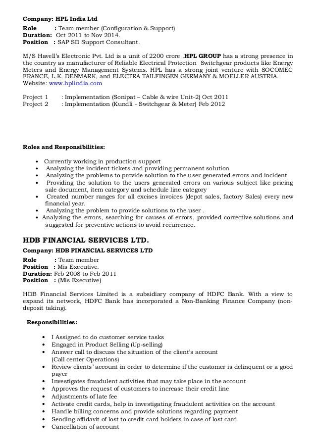 Sap Sd Resume Sample For Fresher - Contegri.com