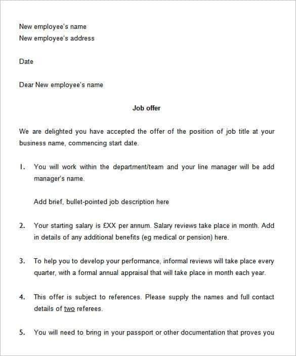 Job Offer Letter TemplateBest Business Template | Best Business ...