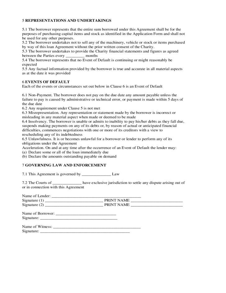 Loan Agreement Form Micro Finance Scheme Free Download
