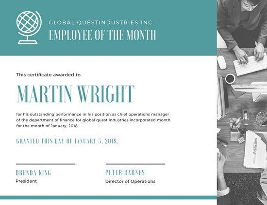 Employee Of The Month Certificate Templates - Canva