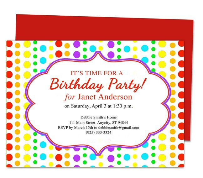 Birthday Party Invitation Card Template Free - Festival-tech.Com