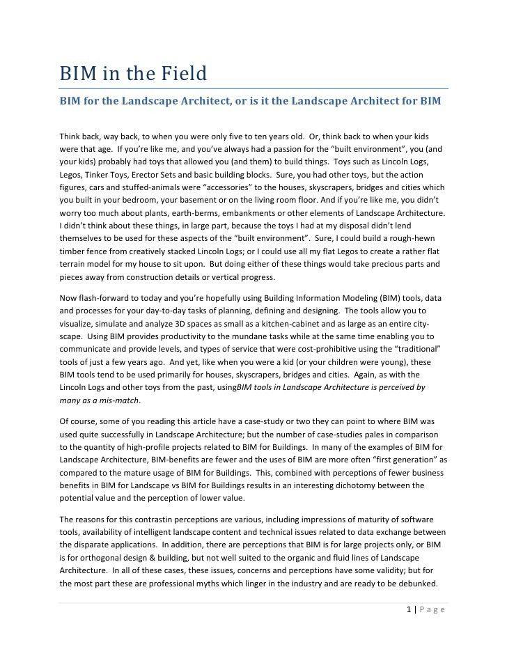 BIM in the Field: BIM for the Landscape Architect