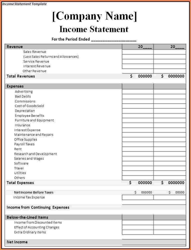 7+ financial statement template | Registration Statement 2017