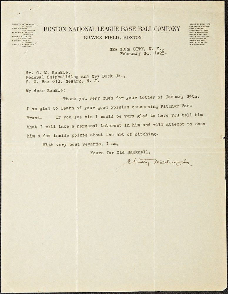 Lot Detail - Extraordinary Christy Mathewson Signed Letter from ...