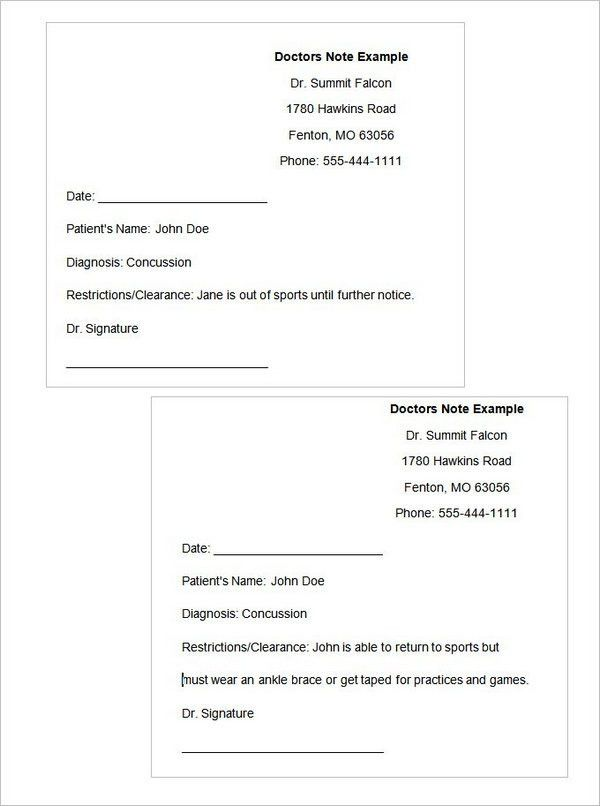 19+ Free Doctor Note Template Collections