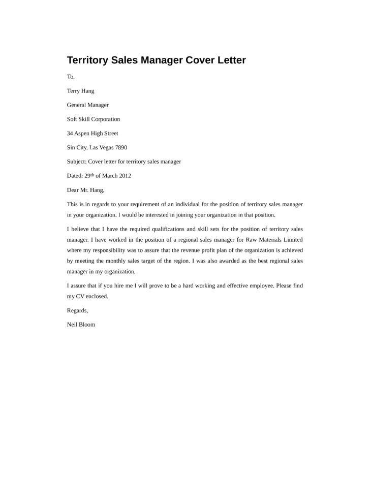 Basic Territory Sales Manager Cover Letter Samples and Templates