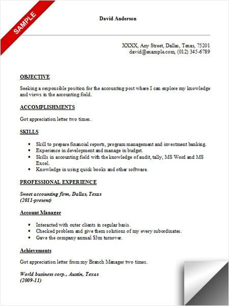 Accounting Resume. Resume Format For Accounts Best Accounting ...