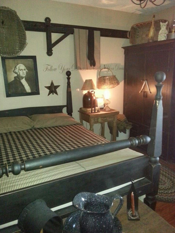 Prim bedrooms on pinterest primitive bedroom primitives for Bedroom ideas country
