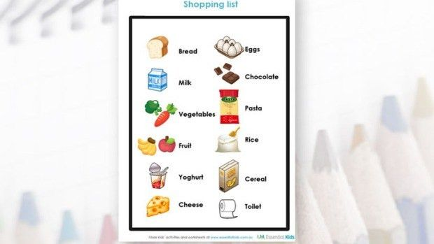Younger Kids Activity | Shopping List | Essential Kids