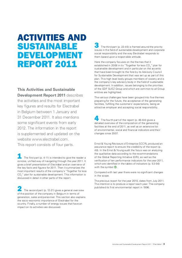 Activities and sustainable development report - 2011 Electrabel, GDF…