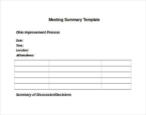 Sample Meeting Summary Template   11+ Free Documents In PDF, Word