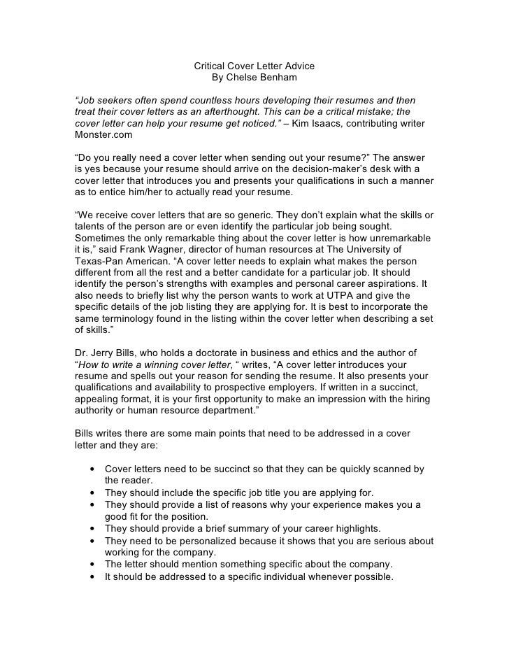 Cover Letter Advice - My Document Blog