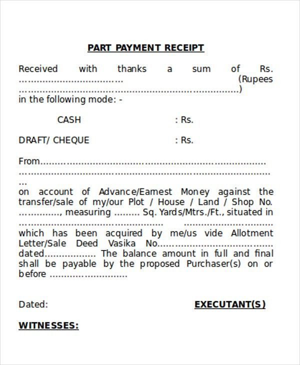 7+ Payment Receipt Form - Examples in Word, PDF