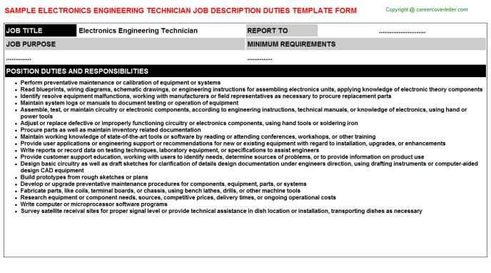 Electrical Engineering Technician Job Descriptions