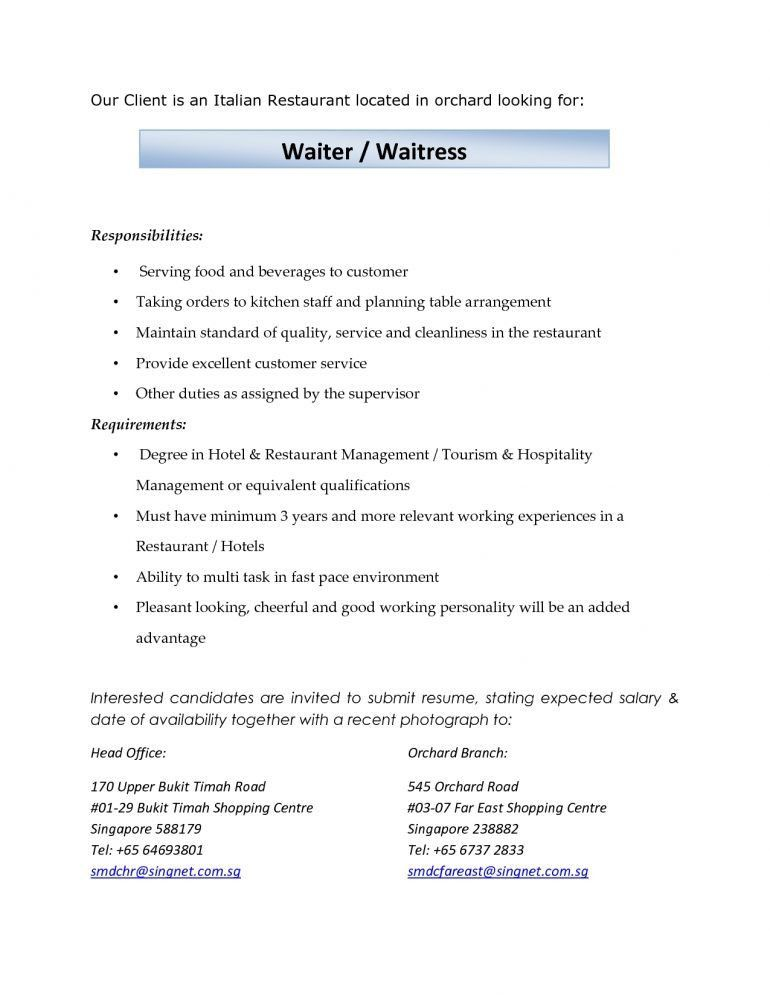 duties of a waitress for resume sample cv for waitresses waitress