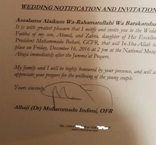 Official Invitation Letter To Zahra Buhari & Ahmed Indimi's ...