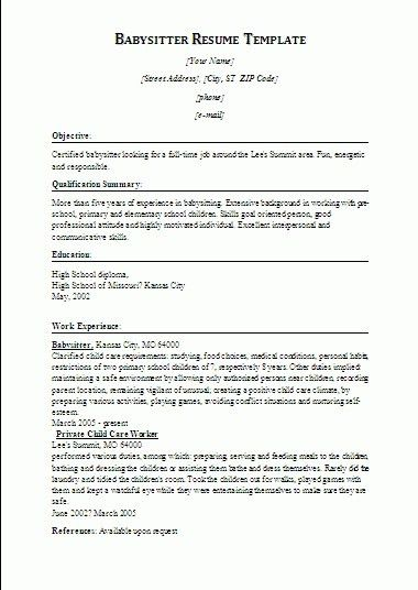 Download Babysitter Resume Sample | haadyaooverbayresort.com
