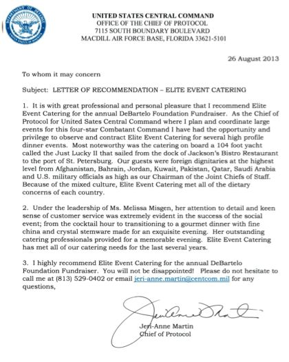Elite Events Catering - LETTERS OF RECOMMENDATION