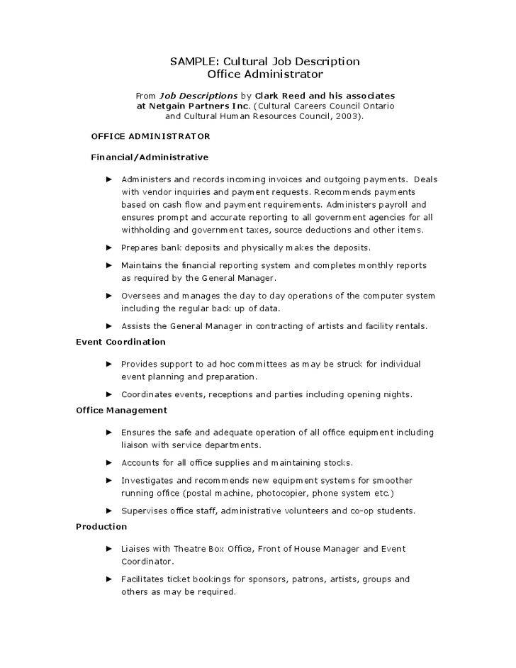 2016 Administrator job description Resume | RecentResumes.com
