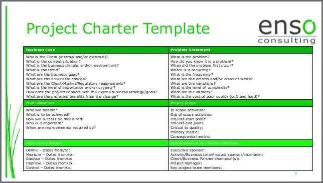 PROJECT CHARTER TEMPLATE | Bidproposalform.com