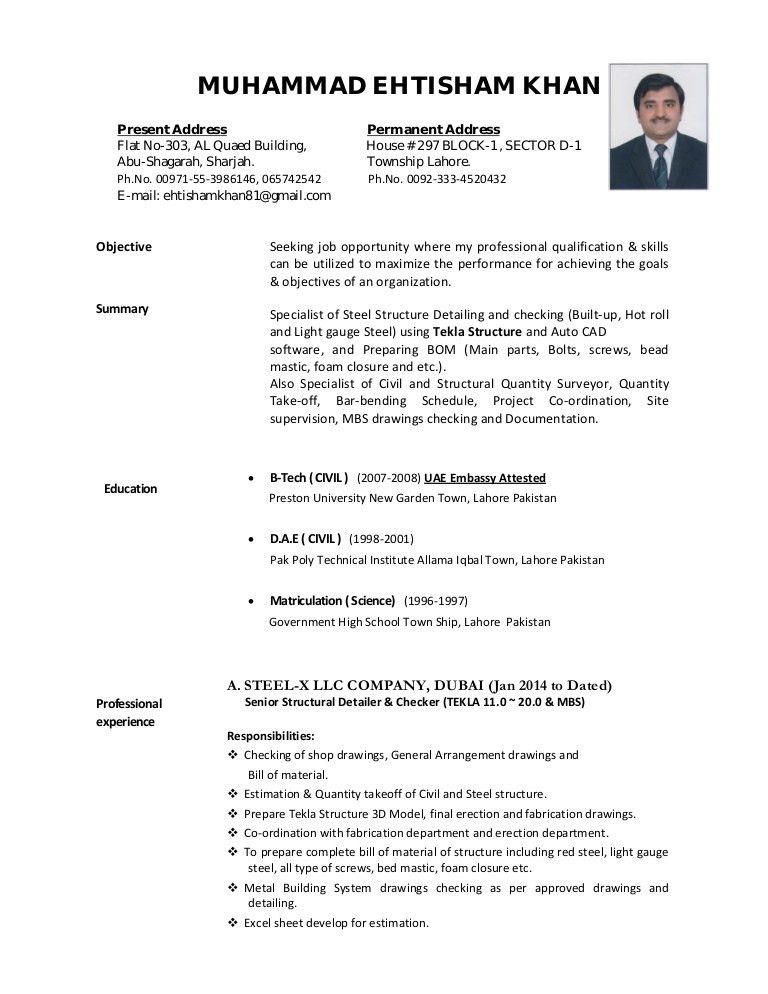CV-EHTISHAM (Tekla Steel Detailer and checker)