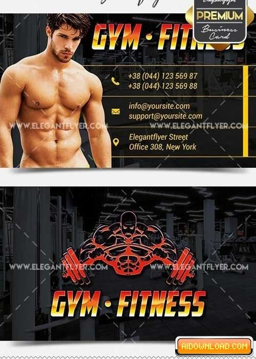 GYM Fitness PSD V1 Business Card Templates Free Download | Free ...