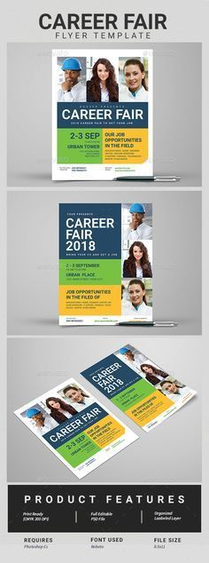 Career Fair DayFlyer | Ai illustrator, Flyer template and Career