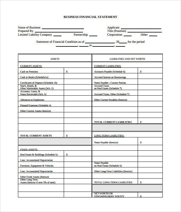 Sample Business Financial Statement Form - 6+ Download Free ...