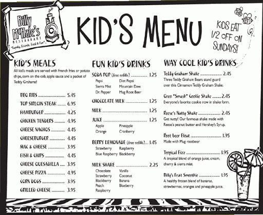 Menu Template For Kids | Best Haircuts