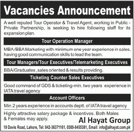 Al Hayat Group Tour & Travel Agent Staff Requied - Al Hayat Group ...