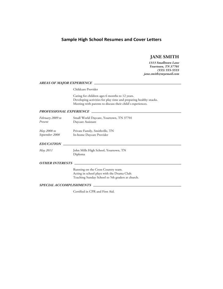 Sample Cover Letter High School