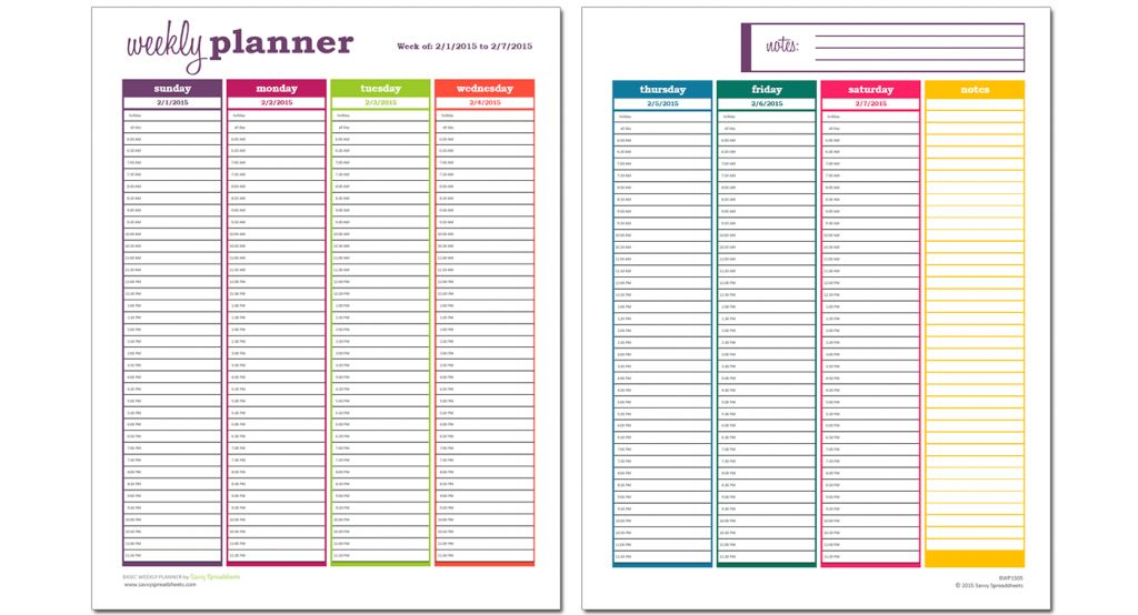 10 Free Weekly Schedule Templates for Excel - Savvy Spreadsheets