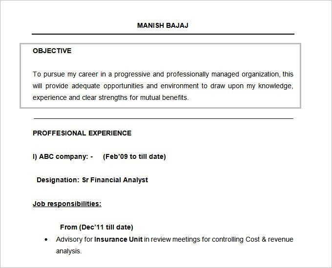 Objective Resume Examples. Free Doc Financial Analyst Resume ...