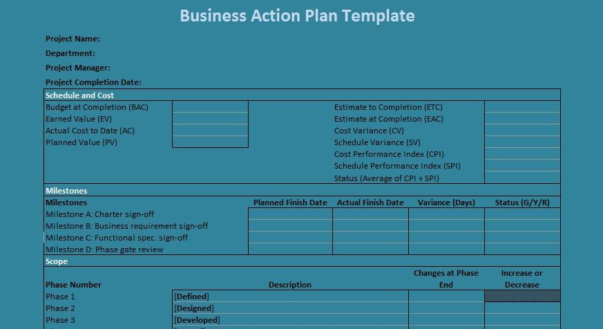 Business Action Plan Template Excel | Projectemplates