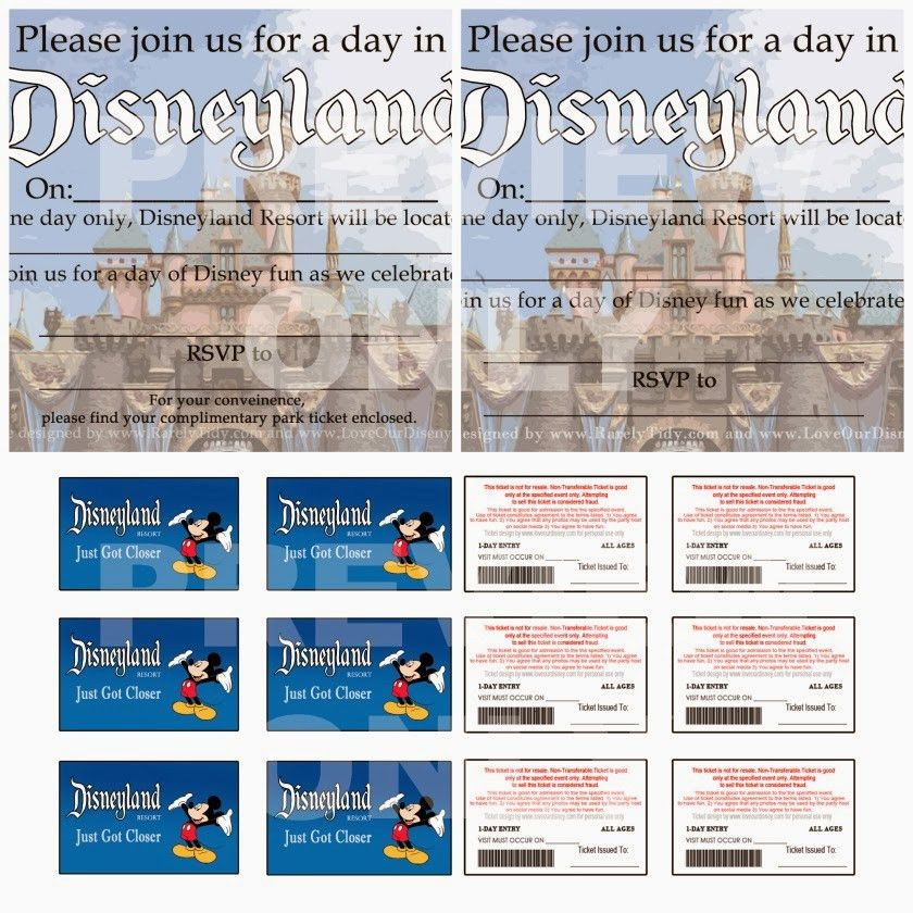"Free printable Disneyland themed party invites and ""Park Tickets ..."