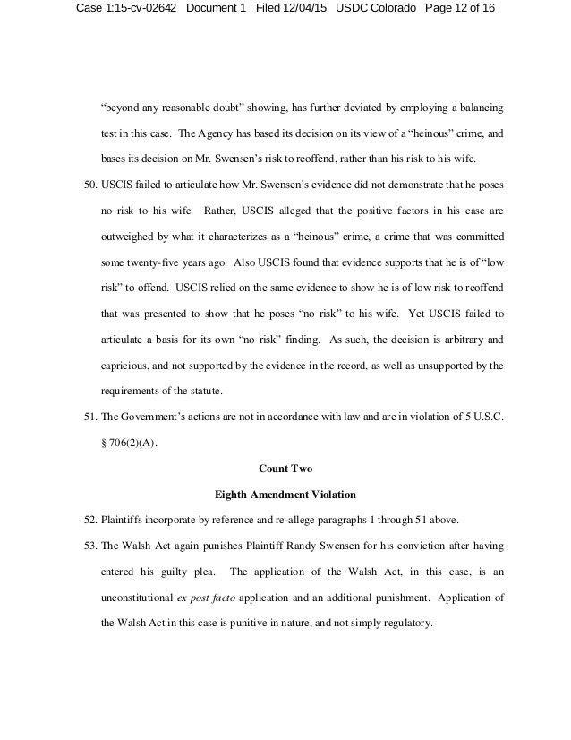 SWENSEN v. Lynch (USCIS) AWA I-130 Denial and Complaint Redacted