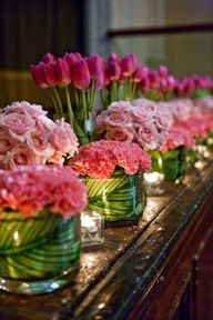Pink roses, tulips,