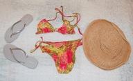 bikinis, flip flops, staw hats