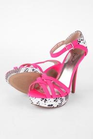 Glitter Snake Detail Platform Heels in Neon Pink :: tobi