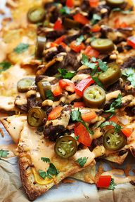 Cheesy nachos topped
