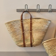 basket with leather