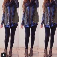 army jacket + plaid